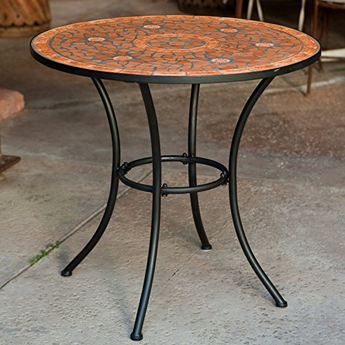 Terra Cotta Bistro Table - Patio Bistro Round Table, Durable Power Coated Iron Frame, Hand Crafted Terra Cotta Mosaic, Rust Resistant, Perfect For Dining Room, Kitchen, Garden, Indoor Or Outdoor Furniture + Expert Guide