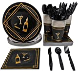 elegant party themes 1920s Party Supplies - Serves 24 - Includes Plates, Knives, Spoons, Forks, Cups and Napkins Perfect for Roaring 20s Themed Birthdays