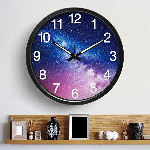 綺麗な夜空 個性的 夜光時計 壁掛け時計 音なし 北欧人気 B07BQMXNQR 夜空 黒 夜空 黒