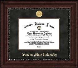 Sonoma State University Seawolves - Gold Medallion - Suede Mat - Mahogany - Diploma Frame