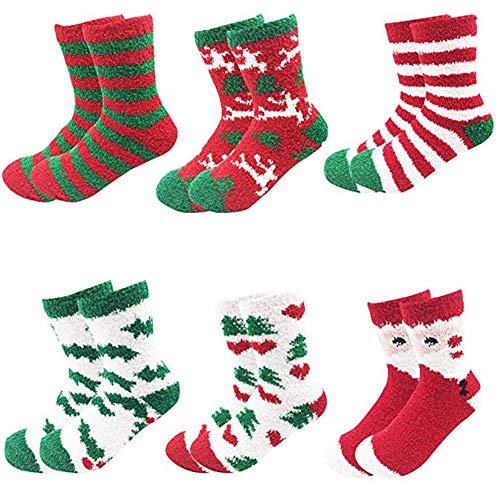 Padgene 6 Pairs Pack Womens Christmas Warm Butter Soft Fuzzy Socks Crew Socks
