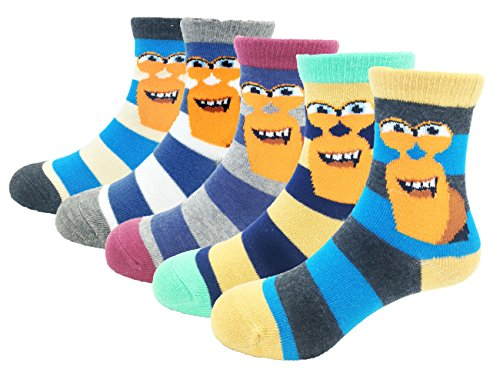 CHUNG Boys Cotton Crew Socks 5 Pack Stripe Snail Dinosaur Animal 2-9Y