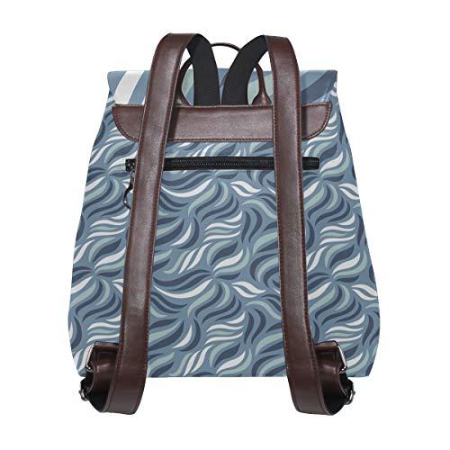 Kvinnor PU-läder enkelt mönster av vågiga linjer ryggsäck handväska resa skola axelväska ledig dagväska