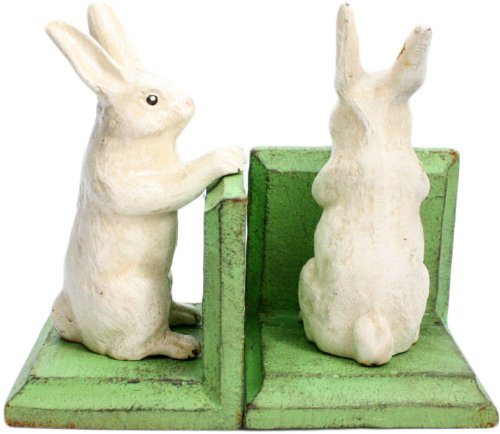 HomArt Cast Iron Bunny Bookends, White, Set of (Cast Iron Bunny)