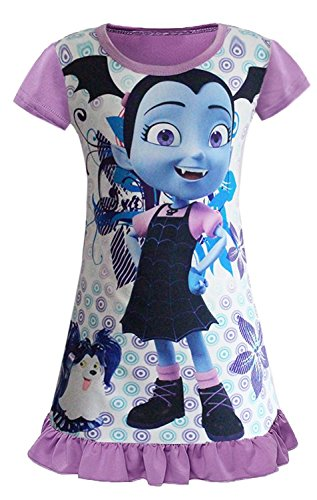 AOVCLKID Vampirina Comfy Loose Fit Pajamas Girls Printed Princess Dress (Purple,130/5-6Y) by AOVCLKID