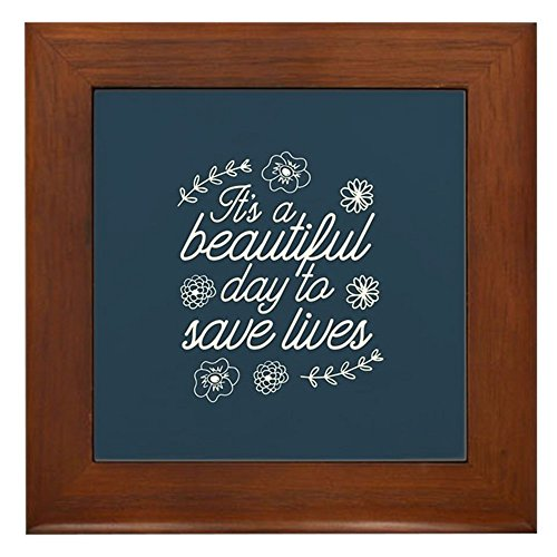 - CafePress - Grey's Anatomy Beautiful Day to Save L - Framed Tile, Decorative Tile Wall Hanging