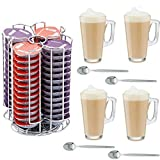 Home Treats 56 Pod Tassimo Coffee Capsule Holder With 4 Free Latte Glasses and Spoons