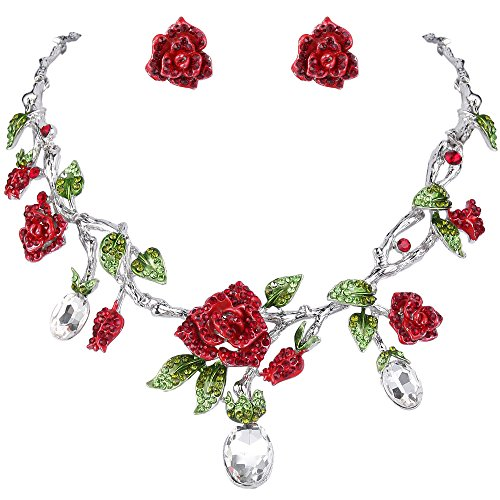 (EVER FAITH Silver-Tone Rhinestone Crystal Gorgeous Red Rose Flower Green Leaf Necklace Earrings Set Clear)