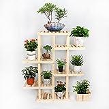 Solid Wood Floor - Style Flower Racks Bonsai Racks Multi - Purpose Shelves Living Room Balcony LH: 61116cm