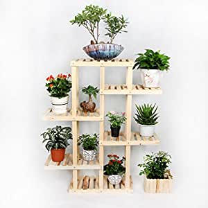 Solid Wood Floor - Style Flower Racks Bonsai Racks Multi - Purpose Shelves Living Room Balcony LH: 61116cm