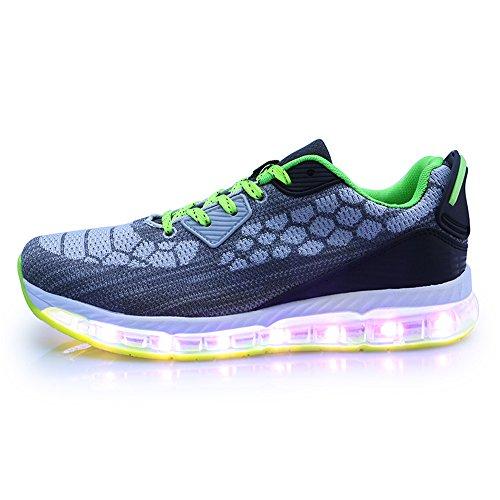 de Marche Chargeur Chaussures Respirant Gris1 Baskets Chaussures USB Clignotant Mode LED Léger Femmes Hommes xHw6Fq4AH