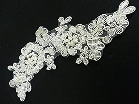 Gm pair ivory vintage beaded lace sew on flower motifs appliques