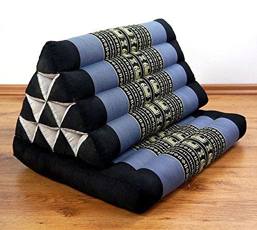 Asia Wohnstudio 1 Fold With Extra Large Triangle Cushion, 100% Natural Kapok Filling, Thai Xxl Jumbo Pillow, Headrest (Thai Cushion Seat Fold) by Asia Wohnstudio
