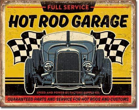 Losea Hot Rod Garage - '32 Rod Vintage Metal Tin Signs for Home Kitchen Wall Art Pub Bar Decor 8 x 12 (Outdoor Me Restaurants Near Patio)