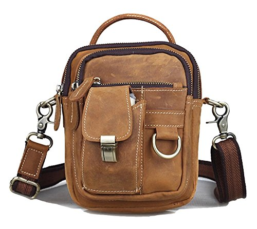 Genda 2Archer Pelle Satchel Piccolo Crossbody Borsa a mano Sporty Viaggiare Belt Bag Marrone