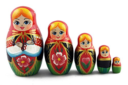 National Costume Of European Countries (Matryoshka Russian Nesting Wooden Doll Belarussian Costume National Gift 5 Pcs Stacking Hand Painting Beautiful Nested Great Craft Matriosjka Matrioska Matreshka Matrjoska Matroeska)