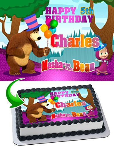 Masha and the Bear Birthday Cake Personalized Cake Toppers Edible Frosting Photo Icing Sugar Paper A4 Sheet 1/4 ~ Best Quality Edible Image for cake