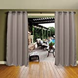 "Cross Land Outdoor Curtains UV Protection Thermal Insulated Blackout for Patio,Garden,Gray,54""x 84"""