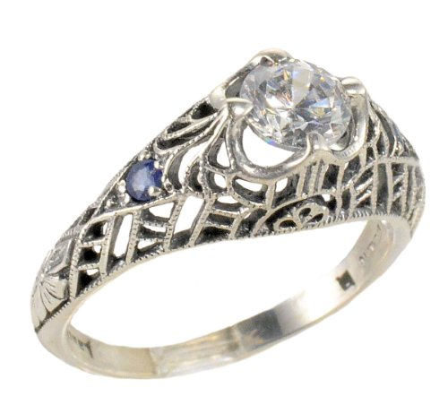 Ring Edwardian Womens - Jansjewells Art Deco Style Sterling Silver .85ct Cubic Zirconia and Sapphire Ring (sz 8)