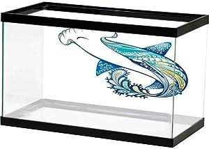 Underwater World Backdrop Abstract Home Decor,Hammer Head Shark Ornate Underwater Sea Ocean Life Animals Marine Theme Image,Blue Aqua White Multicolor