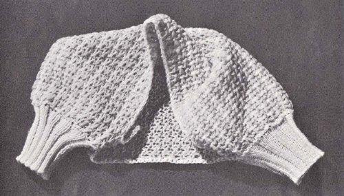 Knitted Bed Jacket Shrug Shoulderette Vintage Knitting Pattern B