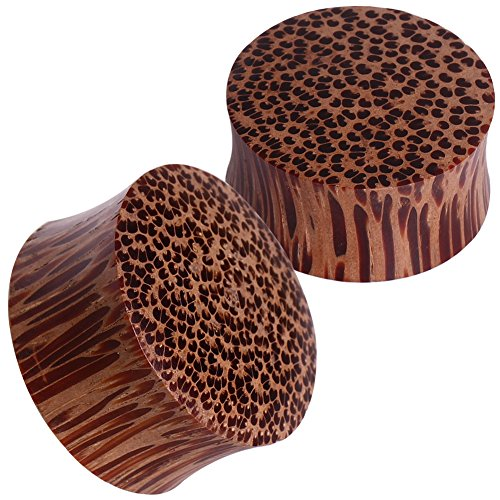 Pair of 00 Gauge (10mm) Double Flared Coconut Wood Solid Ear Plugs ()