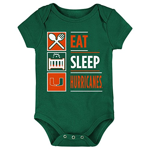 NCAA Miami Hurricanes Newborn & Infant All I Do Short Sleeve Bodysuit, Hunter Green, 12 Months