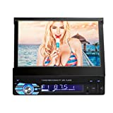 Single DIN In Dash Car Stereo Head Unit w/ 7inch Flip Out Touch Screen Monitor w/Radio Bluetooth Camera MP3