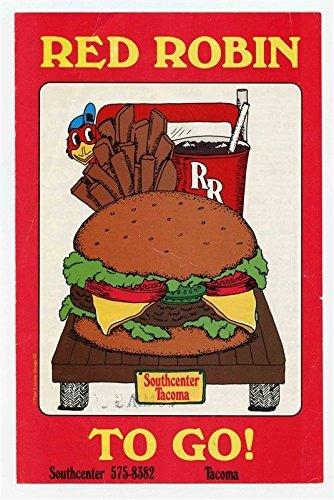 Red Robin Gourmet Burgers Food To Go Menu Southcenter   Tacoma Washington 1980S