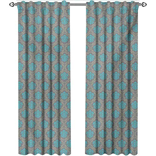 shenglv Damask, Curtains Panels, Venetian Style Damask Swirled Lines and Blossoms Italian Artful Flourish, Curtains Kitchen Valance, W84 x L84 Inch, Cocoa Sky Blue Yellow
