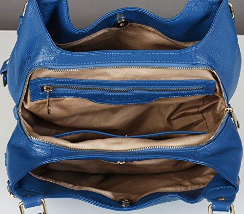 ZAIRE 2 OFFRE FEMME DE Couleur veau cuir Sac BLEU AVEC EN GRATUIT grain 1 SUPER BELUCIA Bleu BRACELET véritable d'épaule de OLANA de ciel E51q6HnwxB