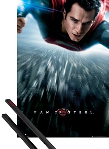 Poster Hanger Superman 36x24 Inches Man Of Steel Flying Over