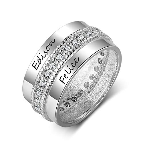 OPALSTOCK Engraved Name Rings Personalized BBF Rings Promise Rings Couple Rings Jewelry for Women (7)