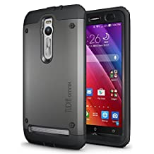 ASUS ZenFone 2 - TUDIA Ultra Tough OMNIX [Heavy Duty] Hybrid Full-body Protective Case with Front Cover and Built-in Screen Protector / Impact Resistant Bumpers Cover for ASUS ZenFone 2 (Metallic Slate)