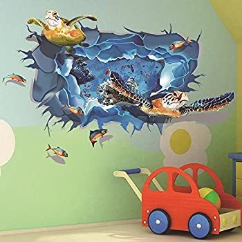 Amaonm Removable Home Art Decor 3D Under Ocean Sea Through The Wall Wall  Sticker Mural Waterproof Part 73