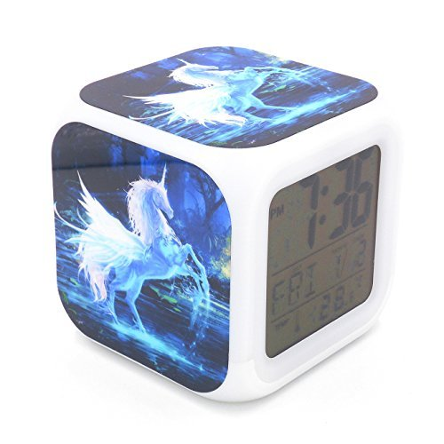 BoFy Led Alarm Clock Unicorn Animal Pattern Personality Creative Noiseless Multi-Functional Electronic Led Lights Desk Table Digital Alarm Clock for Unisex Adults Kids Toy Gift