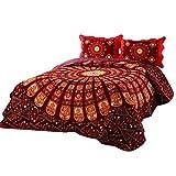 Best Bohemian Classical Floral Cotton 3-Piece Patchwork Bedspread Quilt Sets Queen