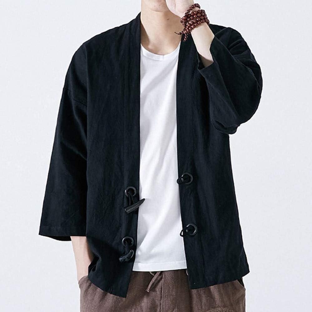 Mens Tops Coat Kimono Loose Cotton Japanese Style Jacket Vintage Yukata Outwear