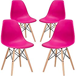 Poly and Bark Vortex Side Chair, Fuchsia, Set of 4