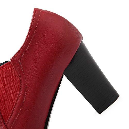 AllhqFashion Mujeres Cremallera Puntera Redonda Cerrada Tacón ancho Sólido De salón con Lazos Rojo