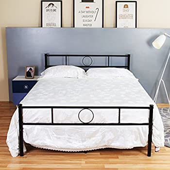 greenforest full size bed framestable metal slat supportno boxspring neededwith headboardblack