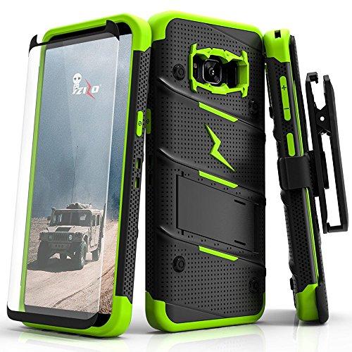 Samsung Galaxy S8 Case  Zizo  Bolt Series  W   Galaxy S8 Screen Protector  Kickstand  12 Ft  Military Grade Drop Tested  Holster Belt Clip   Galaxy S8 Black Neon Green