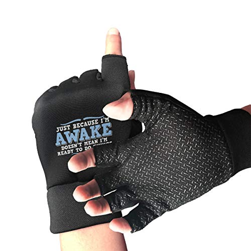 (HU MOVR Awake Things Bike Gloves Slip-Proof Half Outdoor Sports Workout Short Glove for Men Women)