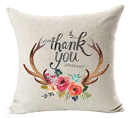 Nordic Hand-painted Colorful Flowers Bucks Antlers Thank You Thanksgiving Gift Cotton Linen Throw Pillow Case Personalized Cushion Cover NEW Home Office Bay Window Decorative Square 18 X 18 Inches