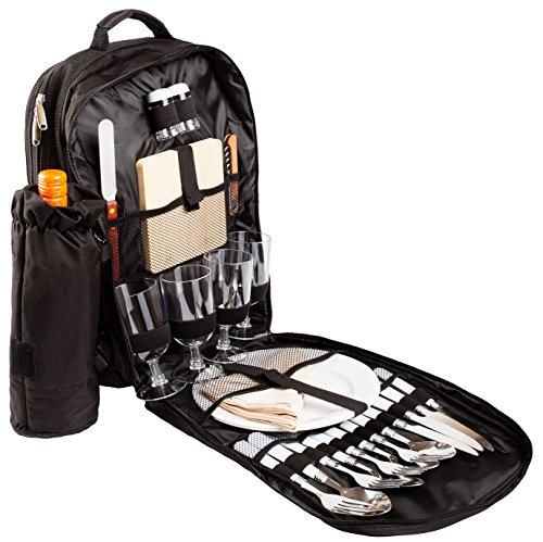 BRUBAKER-Picknickrucksack-Picknicktasche-mit-Inhalt-fr-4-Personen-mit-integrierter-Khltasche-und-abnehmbarer-Flaschentasche