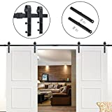 Hahaemall Rustic American Country 5-16 FT Barn Door Hardware Steel Track For Double Wooden Doors Closet Kitchen Kit (13FT Double Door Kit with Soft Close)