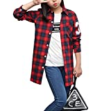 Fashion Girl Striped Plaid Casual Overshirt Red 140cm