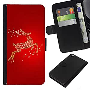 Stuss Case / Funda Carcasa PU de Cuero - Red Gold Glitter Invierno Carismas - HTC DESIRE 816