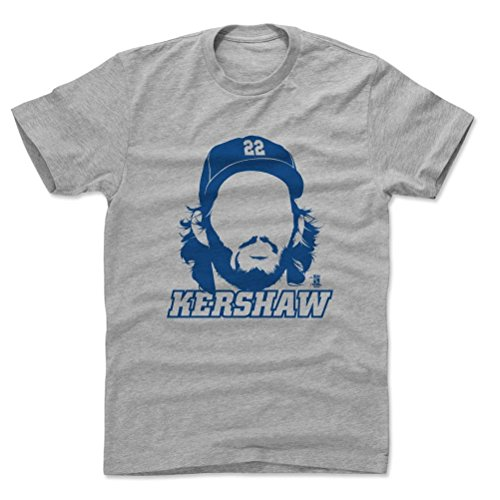 500 LEVEL's Clayton Kershaw Cotton Shirt Medium Heather Gray - Los Angeles Baseball Fan Apparel - Clayton Kershaw Silhouette B