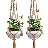 2 pack 41.3 Inches Macrame Plant Hanger with 8 pcs Removable 3D Butterfly and Key Ring for Indoor Outdoor Plant Decoration, 4 Legs Flower Pot Plant Holder, Jute Color